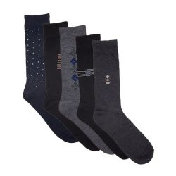 Black Blue Grey Cotton Elegant Socks 12 Pack
