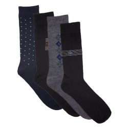 Black Blue Grey Cotton Elegant Socks 6 Pack