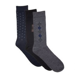 Pack of 3 Multicolour Cotton Elegant Socks for Men