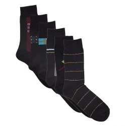 Pack of 6 Black Cotton Classic Socks for Men