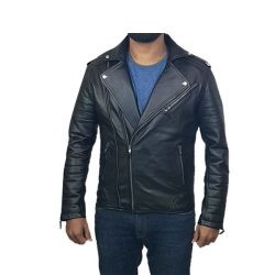 Mens Slim Fit Leather Jacket AMB2 A