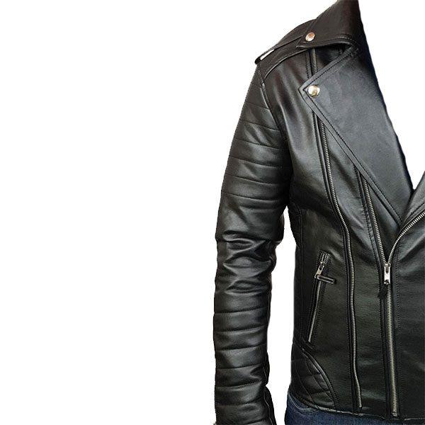 Mens Slim Fit Leather Jacket AMB2 D