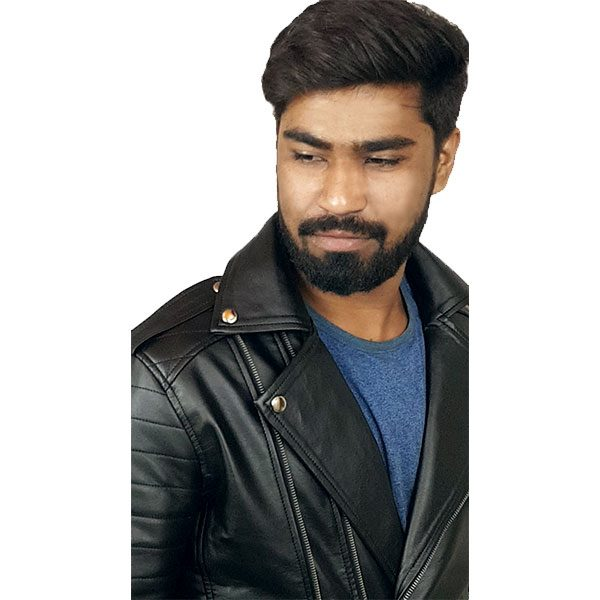 Mens Slim Fit Leather Jacket AMB2 E