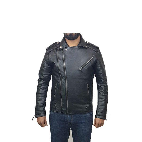 Mens Slim Fit Leather Jacket AMB2 F
