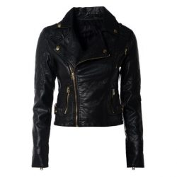 Women Slim Fit Pu Leather Jacket LMB