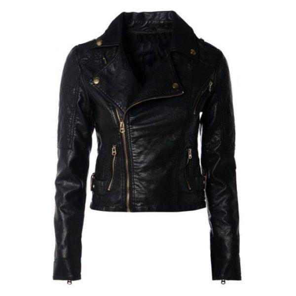 Women Slim Fit Pu Leather Jacket LMB