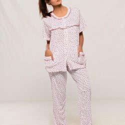 Pink Cotton Half Sleeves Night Suit for Women