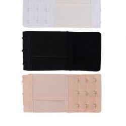 Pack Of 3 Multicolour Brushed Nylon 3×3 Hook & Eye Bra Extenders For Women