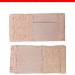 Pack Of 2 Skin Brushed Nylon 3×3 Hook & Eye Bra Extenders For Women