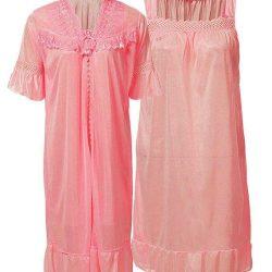 Rose Pink Nylon & Net Blossom Nightwear For Women