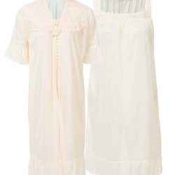 Apricot Nylon & Net Blossom Nightwear For Women