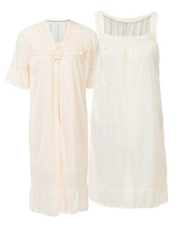 Apricot Nylon & Net Blossom Nightwear For Women
