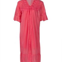 Rose Pink Nylon & Net Nightsuit For Women - Nylon Nighty-Rose Pink
