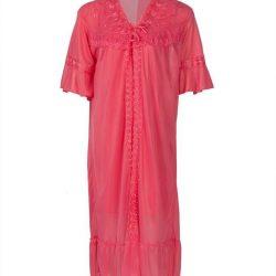 Rose Pink Nylon & Net Nightsuit For Women - Nylon Nighty-Rose Pink