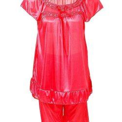 Hot Red Nylon Short Suit For Women