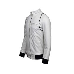 Men Slim Fit PU Leather Jacket A1 White