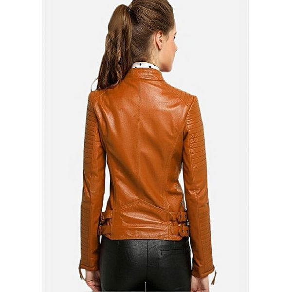PU Leather Jacket For Women MW1314 2