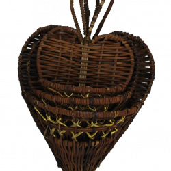 Three Piece Heart Style Wood Basket