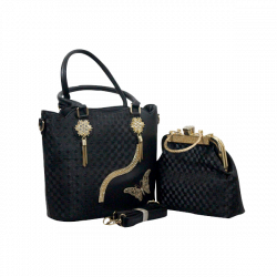 Two Piece Fancy Ladies Bag Black