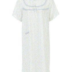 Grey Cotton Floral Nightwear For Women