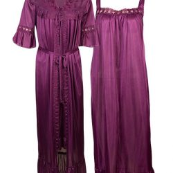 Plum Nylon Long Nighty-Plum LINGERIES