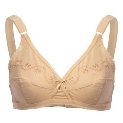 Skin Cotton X-Over Embroidery Bra