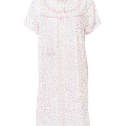 Pink Cotton Floral Nightwear For Women