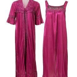Plum Nylon & Net Nightwear For Women