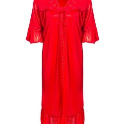 Red Nylon & Net Red 2Pc Nighty