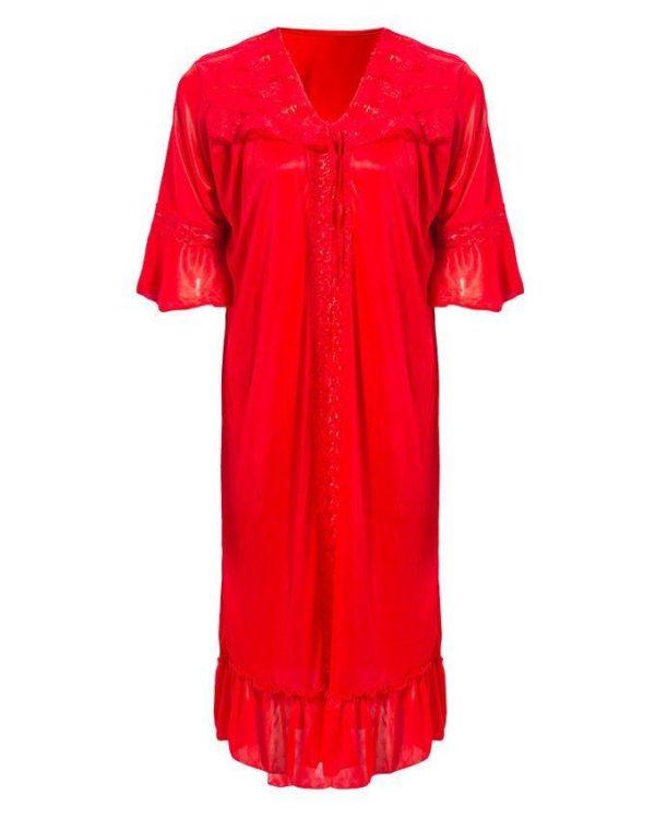 Red Nylon & Net Red 2Pc Nighty