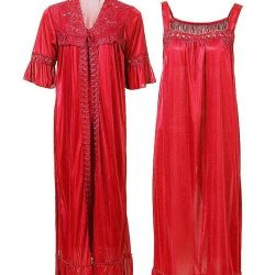 Red Nylon Long Nightwear For Women