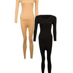 Pack of 2 – Skin & Black Polyester Lycra Thermal Suits