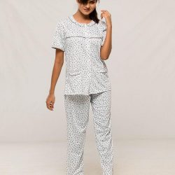 Grey Cotton Half Sleeves Night suit for Women
