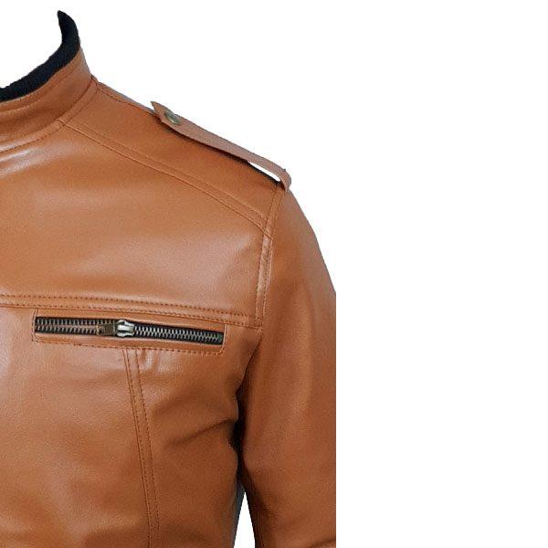 Men Slim Fit PU Leather Jacket B666 3 C