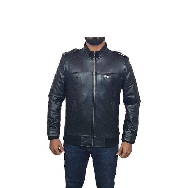 Men Slim Fit PU Leather Jacket B666 Black A