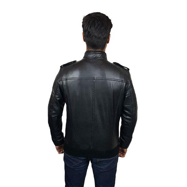 Men Slim Fit PU Leather Jacket B666 Black B