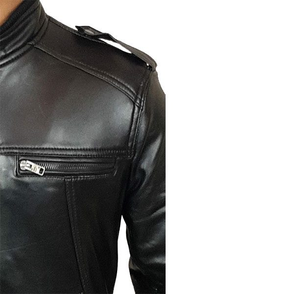 Men Slim Fit PU Leather Jacket B666 Black C