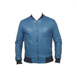 Men Slim Fit PU Leather Jacket BOOMBER Blue A