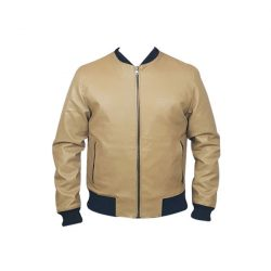 Men Slim Fit PU Leather Jacket BOOMBER Cream A