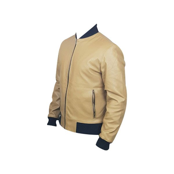 Men Slim Fit PU Leather Jacket BOOMBER Cream B