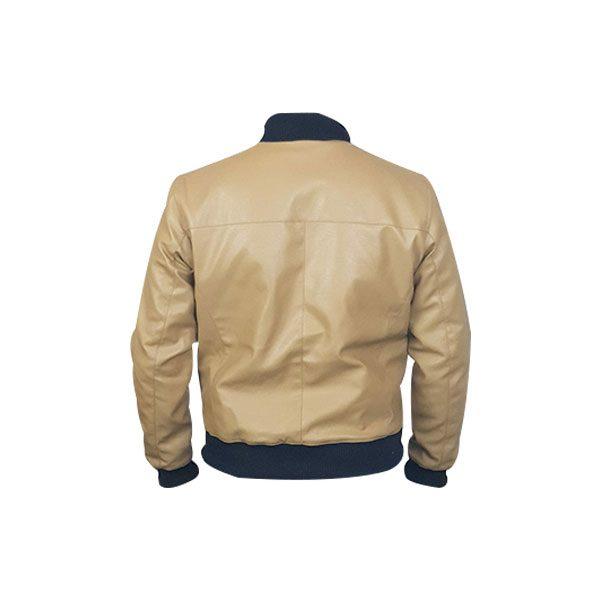 Men Slim Fit PU Leather Jacket BOOMBER Cream C