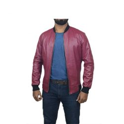 Men Slim Fit PU Leather Jacket BOOMBER Maroon A