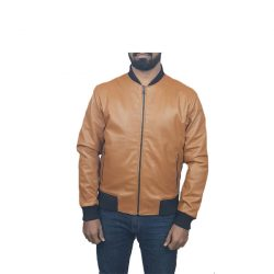 Men Slim Fit PU Leather Jacket BOOMBER Mustard A