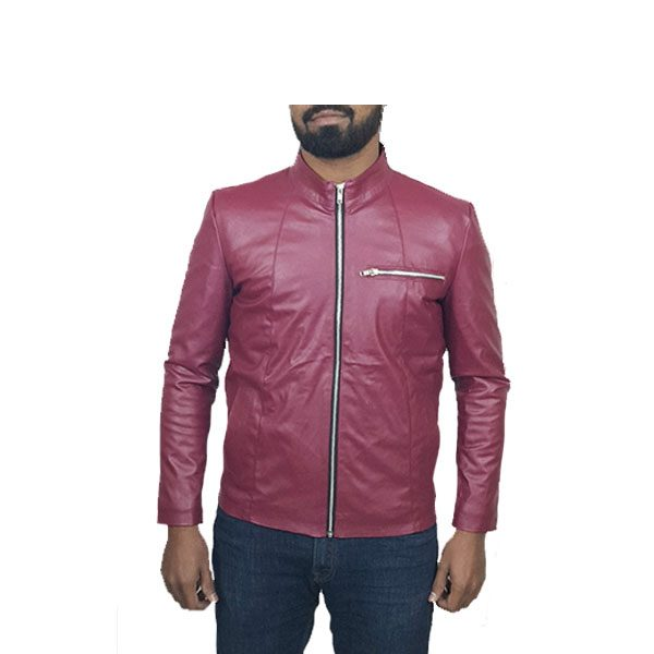 Men Slim Fit PU Leather Jacket RS2 Maroon A