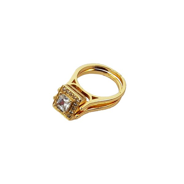 Platinum Plated Double Zircon Ring A