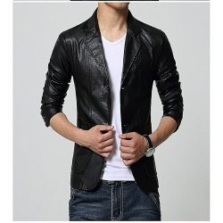 Men Slim Fit PU Leather Coat MCB 1