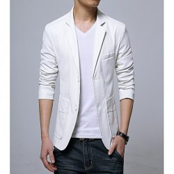 Men Slim Fit PU Leather Coat MCW 1