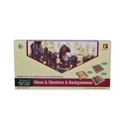 Wooden Chess Backgammon Checkers Game Set