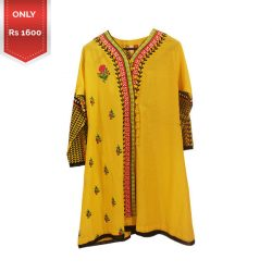 Flower design stitched lawn Embroidery Kurti