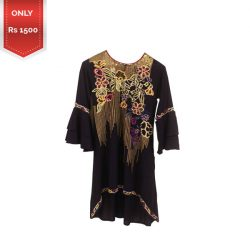 Women Black Embroidered Lawn Kurti a